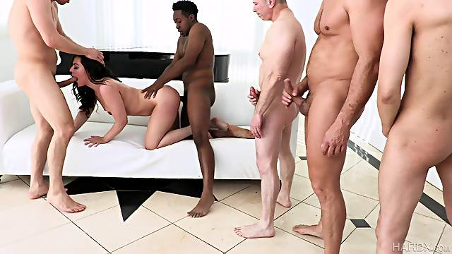 Sexy brunette tries multiple cocks in a series of gang bang scenes