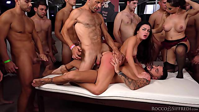 Group sex leads these women to swallow rivers of cum