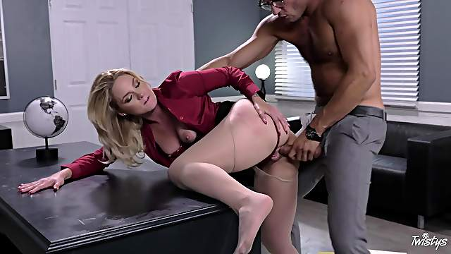 Nude blonde bends for cock at the office and fucks until the end