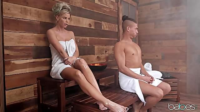 MILF enjoys random man's cock during her sauna session