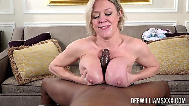 Mature tries BBC between her huge tits and up the ass