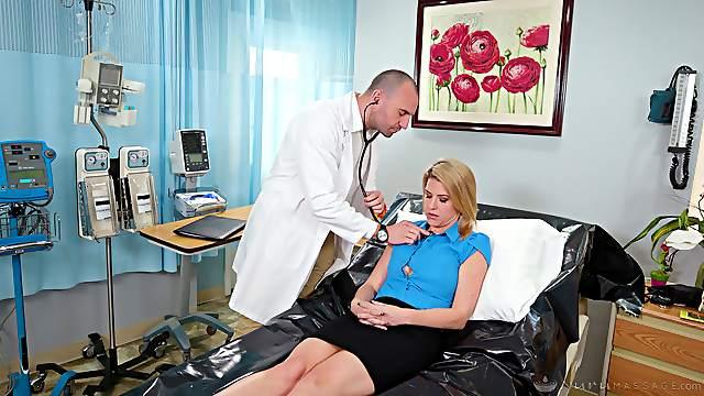 Dirty doctor dicks delightful blonde dame Kit Mercer on a hospital bed