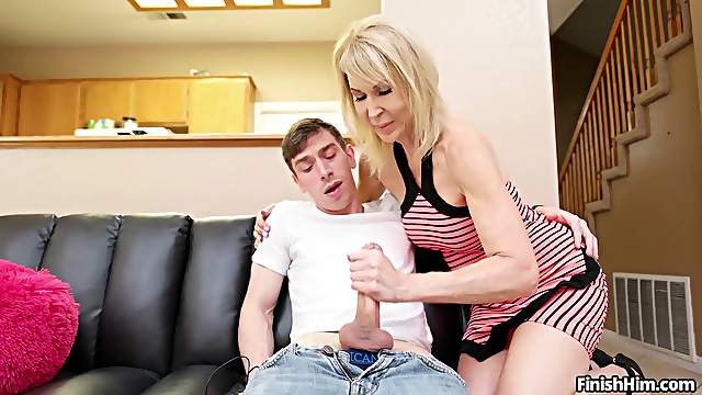 Sassy stepmother Erica Lauren gives young hung son a handjob