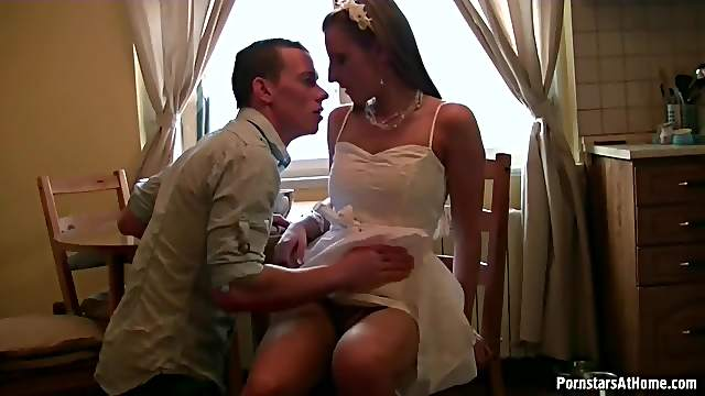 Teen in adorable dress laid hardcore
