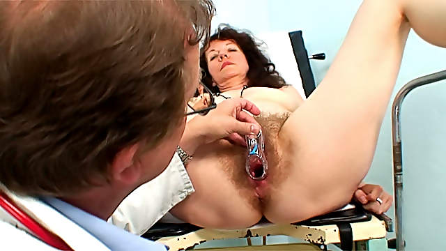 Medical exam for hairy mature chick