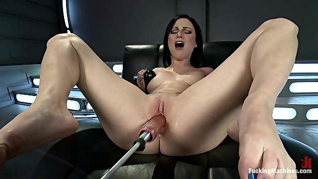 Horny Brunette Has Her Breath Taken Away By A Machine