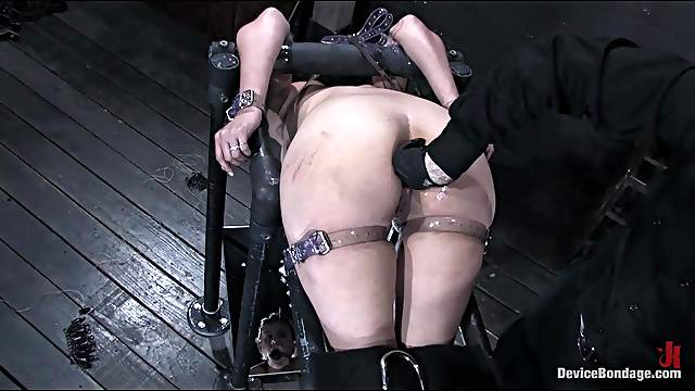 Slut is victim of bondage device