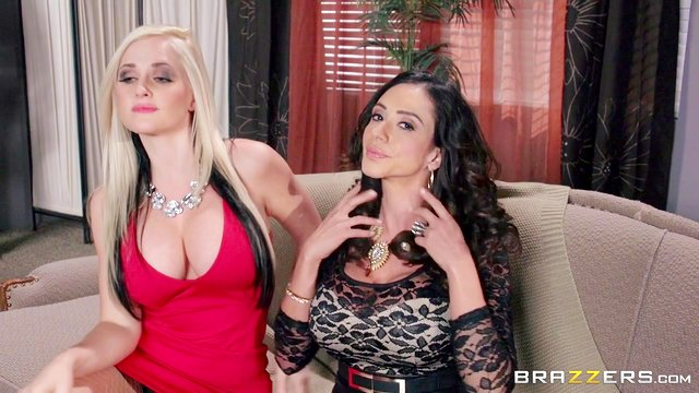 FFM threesome with Alena Croft and Ariella Ferrera ends with facials