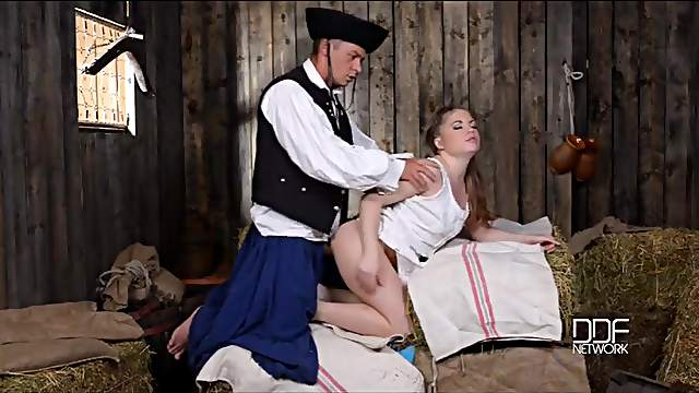 Pretty farm girl fucked in a barn by a horny soldier