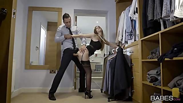 Fucking flexible British slut Stella Cox in stockings
