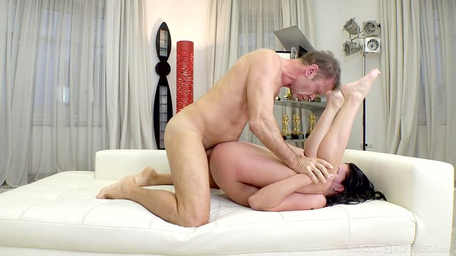 Casting babe rides Rocco with her ass in full anal XXX