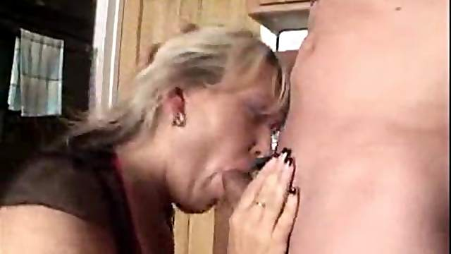 He cums on housewife after fucking her
