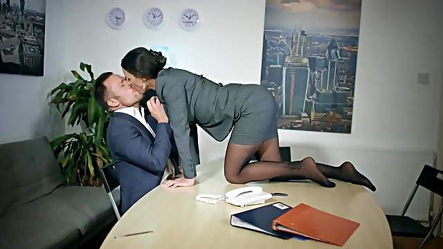Busty secretary tries sex in the office along the horny boss