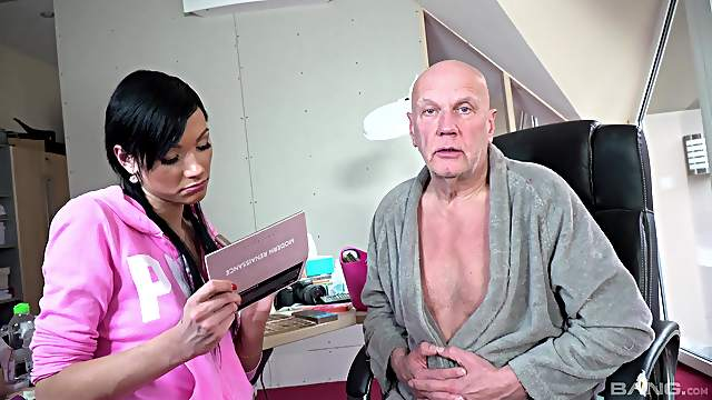 Grandpa soaks young pussy with his energized dick