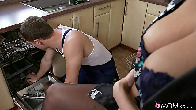 Energized beauty in sexy lingerie, nasty sexual fun with the plumber