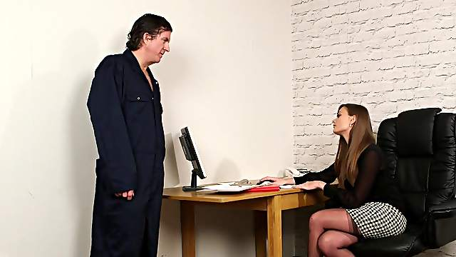 Man gags clothed secretary before fucking her brains off