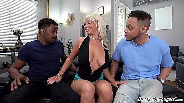 Two black bucks introduce sexy London River to BBC double penetration