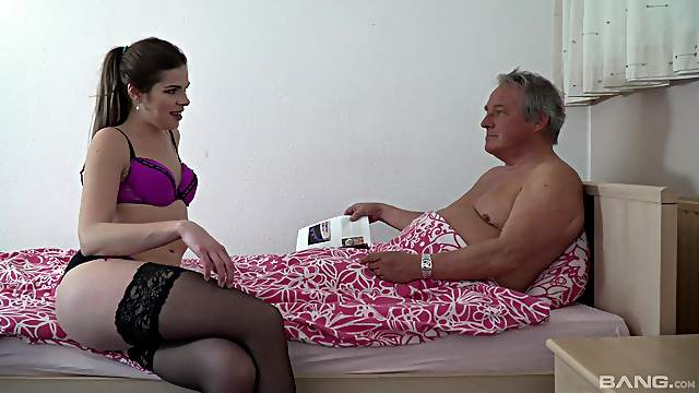 Old man pumps skinny young niece and cums inside her