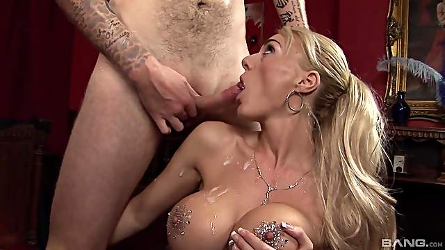 Busty blonde plays by the rules and endures great fucking